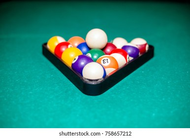Billiard balls lie on the billiard table