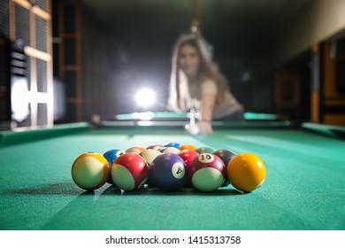 Billiard balls on table in club