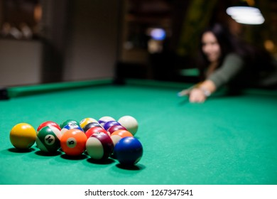 Billiard balls on the table ready for game