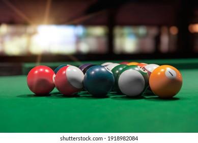 Billiard balls on the table. Set of balls