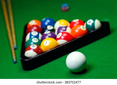 Billiard balls pool on green table, game
