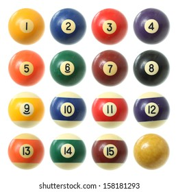 Billiard balls (pool balls) set isolated on white background