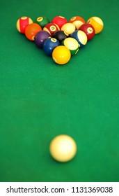 Billiard balls in triangle shape