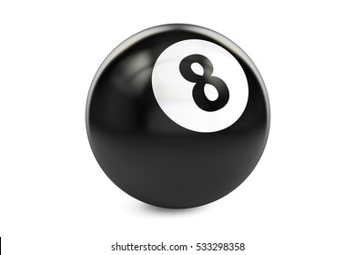 Billiard black eight ball, 3D rendering isolated on white background
