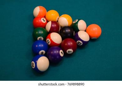 Billiard concept ,balls on the table