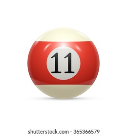 Billiard eleven ball isolated on a white background illustration
