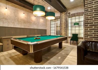 Billiard hall with a big pool table