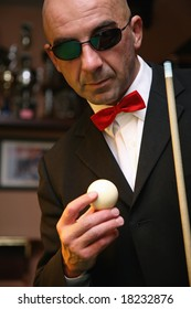 Billiard player detail-Rijeka-Croatia
