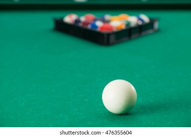 Billiard table with balls. Close-up. Narrow depth of field