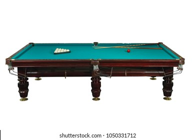 billiard table with balls and cue isolated on white background