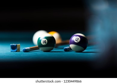 billiard table with cue and balls. billiards background