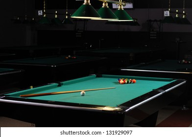 billiard tables in a billiard club