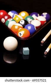 Billiard time, composition on shiny background