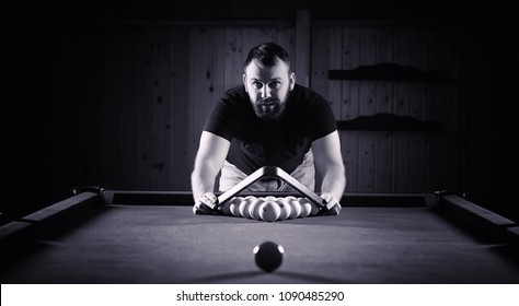 Billiards in the club game for men.