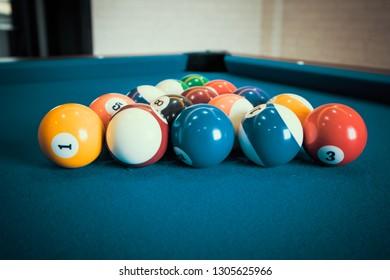 Billiards pool table retro vintage style