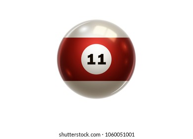 Billiards, red balloon at number 11, eleven, isolated on white background. Snooker. Illustration.