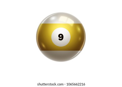 Billiards, Yellow ball at number 9, Nine, isolated on white background. Snooker. 3D illustration