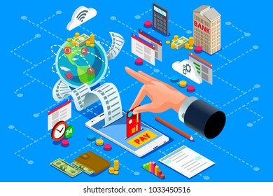 Billing concept or paper bill to represent online web payment. Ecommerce or bank payment from electronic account. Isometric design.