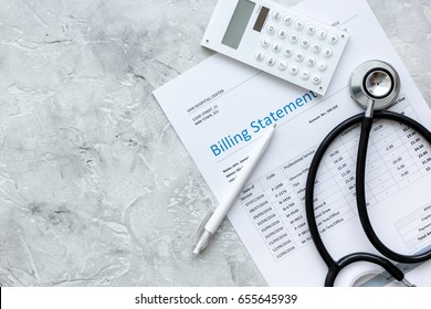 billing statement for for medical service in doctor's office background top view mock up