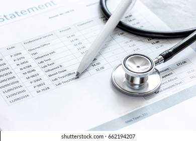 billing statement for for medical service in doctor's office background