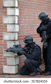 BILLINGHAM, CLEVELAND, UK - 20th JANUARY 2015: Armed police officers take part in a training exercise on the 20th January 2015 in Billingham, Cleveland, UK.