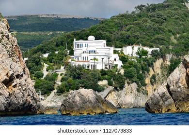 Billionaire villa on Mediterranean cliff captured from the sea