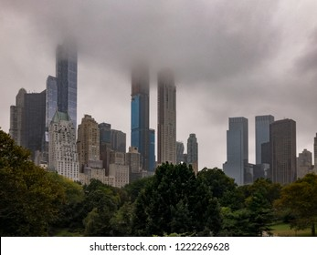 Billionaires' Row view from Central Park in Manhattan, New York City on a foggy day.