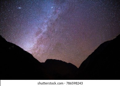 Billions of stars adorn the night sky over Snowy mountains of Lachen village in North Sikkim, India. Astro photography in north east India. Astro photography at Himalayas. Winter milky way