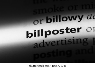 billposter word in a dictionary. billposter concept.