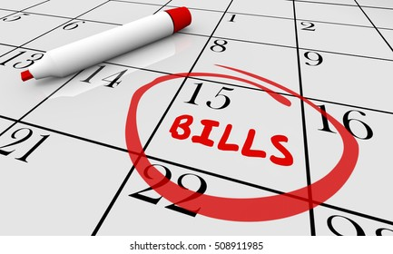 Bills Due Date Circled Calendar Owe Money Deadline 3d Illustration