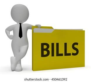Bills Folder Representing Administration Business And Folders 3d Rendering