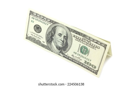 bills of one hundred dollars on a white background