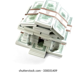 Bills in the shape of a bank