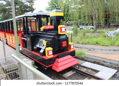 Billund, Denmark, August 15th 2018: Lego Train in Legoland, Denmark