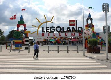 Billund, Denmark, August 15th 2018:Entrance to Legoland Billund, Denmark