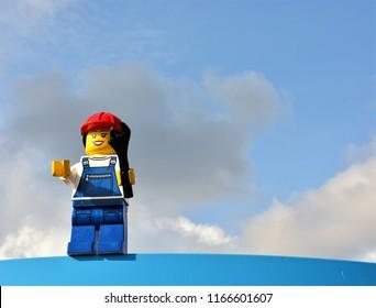 Billund, Denmark - August 2018: A mechanic figure on a display at Legoland.