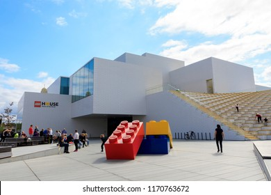 Billund, Denmark. August 25, 2018. The Lego House attracts fans from all over the world. Designed by Bjarke Ingels Group the house is one of the main family attractions in Southern Denmark.