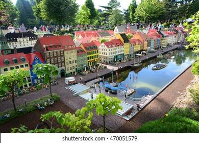 Billund, Denmark - July 26, 2016: Lego houses of Nyhavn in Legoland
