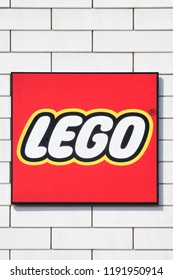 Billund, Denmark - July 26, 2018: Lego sign on a wall. Lego is a line of plastic construction toys that are manufactured by the Lego Group, a privately held company based in Billund, Denmark