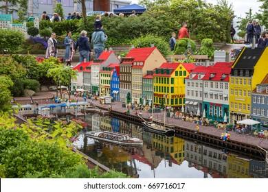 Billund, Denmark - July 27, 2017:  Lego bricks model of Nyhavn Copenhagen at Legoland park