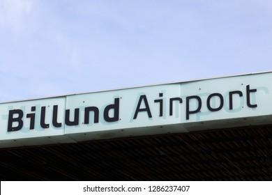 Billund, Denmark - March 18, 2016: Billund airport terminal in Denmark. Billund airport is the second largest airport in Denmark