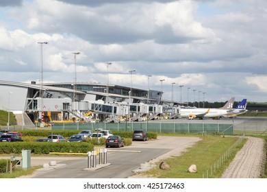 Billund, Denmark - May 14, 2016: Billund airport in Denmark. Billund airport is the second largest airport in Denmark