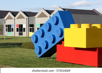 Billund, Denmark - May 14, 2016: Lego office building in Billund, Denmark. Lego is a line of plastic construction toys that are manufactured by the Lego Group
