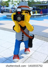 Billund, Denmark, May, 23, 2019: Legoland Resort, Full size photographer built with lego blocks taking a picture