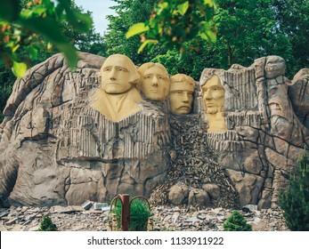 Billund, Denmark - May 27, 2018: Legoland Resort in Billund, Statue of Mount Rushmore.
