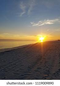 Biloxi - February 13 : Biloxi Beach on the Gulf Coast Feburary 13, 2018 in Biloxi, Mississippi.