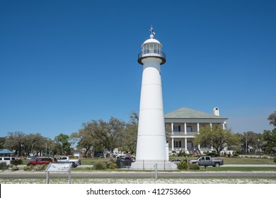 BILOXI, MISSISSIPPI - MARCH 21, 2016: The Lighthouse of Biloxi. Built in 1848, it is the only US lighthouse to stand between a four lane highway. It is the 2nd US lighthouse to be built of cast iron.