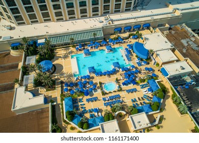 BILOXI, MISSISSIPPI, USA - AUGUST 1, 2018: Aerial image of the Beau Rivage Biloxi casino resort pool deck