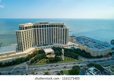 BILOXI, MISSISSIPPI, USA - AUGUST 1, 2018: Aerial drone image of the Beau Rivage Biloxi Beach Mississippi