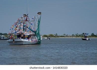 Biloxi, Mississippi, USA, June 1,2019 Blessing of the shrimp fleet.